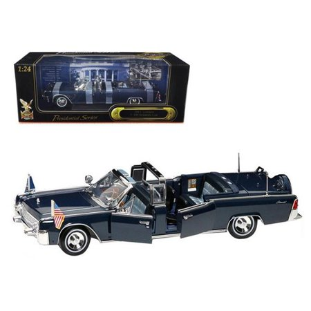 Kennedy Card - 1961 Lincoln X-100 Kennedy Limousine Blue with Flags 1/24 Diecast Model Car by Road Signature