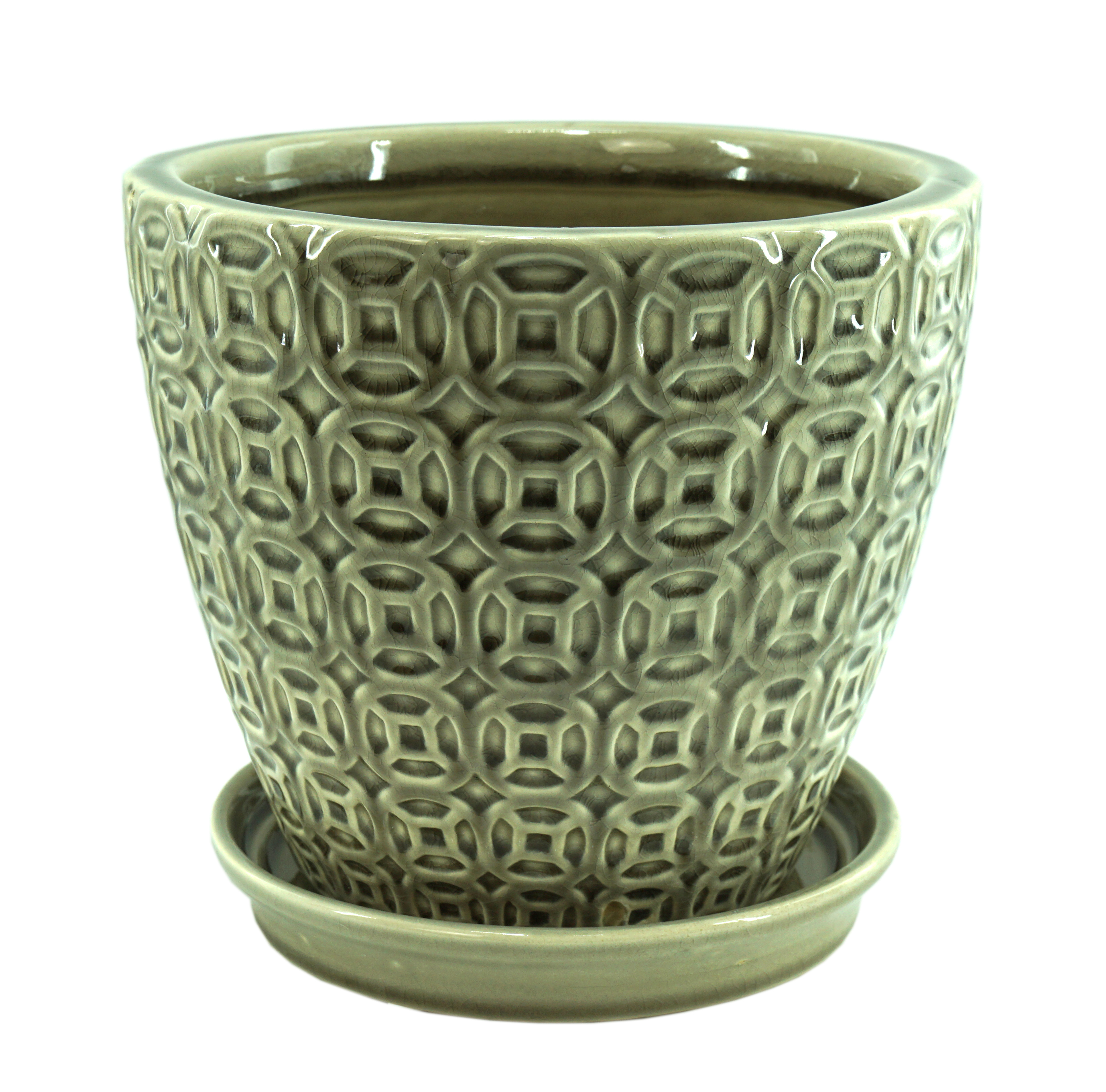 Better Homes&gardens Pottery-11in greige pot