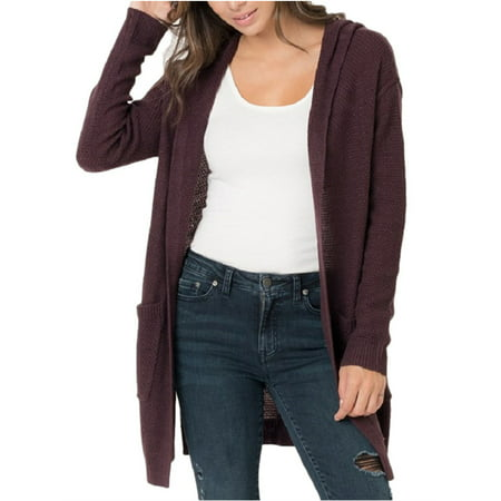 Open Front Women Long Cardigan with Pocket Hooded Casual Knit Coat
