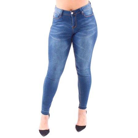 Denim - Womens Plus Single Button Basic Denim Skinny Fashion Jeans 0610467JPM