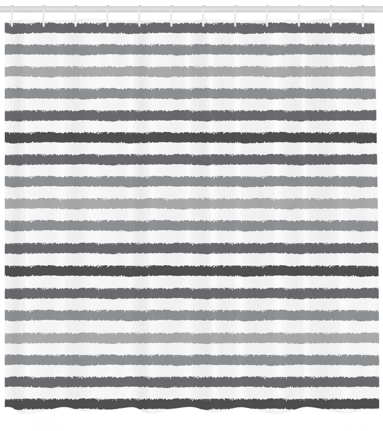 Striped Shower Curtain Gray And White Stripes Monochrome Tone Brush Style Lines Grunge Retro Digital Print Fabric Bathroom Set With Hooks White