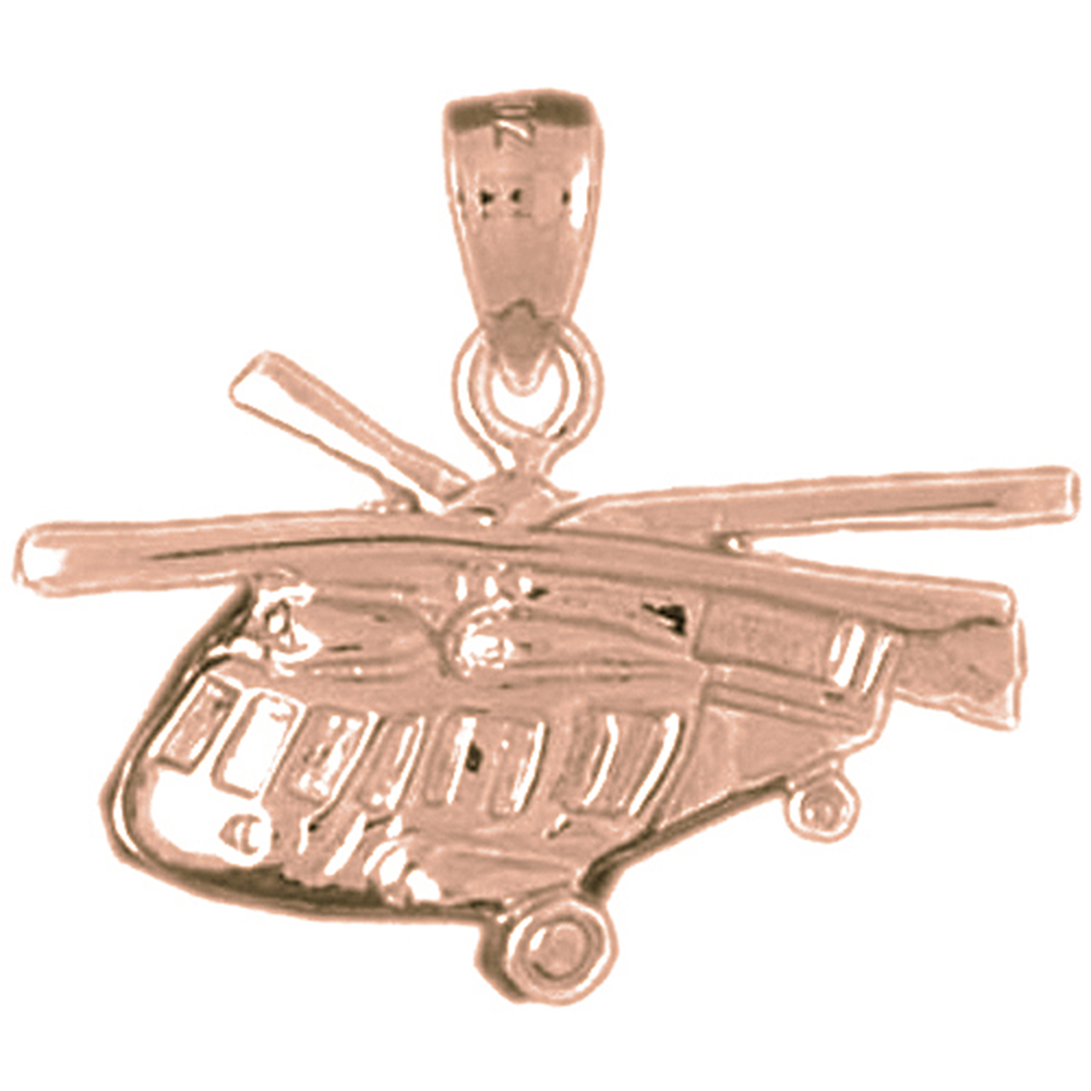 14K Rose Gold Helicopter Pendant - 22 mm
