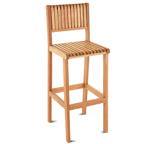 Amazonia Milano FSC Eucalyptus Wood Outdoor Barstool, Brown