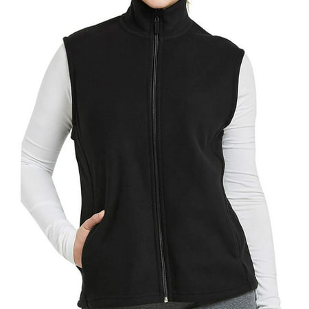 DailyWear Womens Full-Zip Plush Polar Fleece Vest (Black, 3Xlarge)