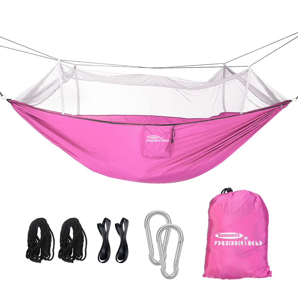 Forbidden Road Camping Hammock Single & Double Mosquito Net Hammock for Outdoor Hiking Backpacking Travel Backyard Ropes Carabiners Included (Blue)