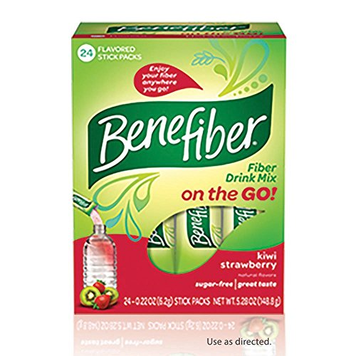 5 Pack BeneFiber Fiber Drink Mix on the Go! Kiwi Strawberry Stick Packs 24 Each