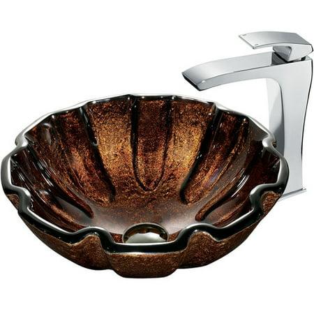 Vigo Walnut Shell Glass Vessel Sink and Faucet Set, Chrome ()
