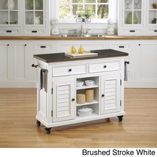 Home Styles Bermuda Kitchen Cart with Stainless Steel Top Brushed stroke white