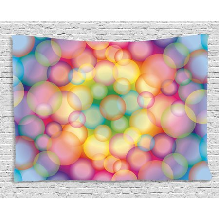 Modern Tapestry, Colorful Hazy Balls Circular Hoops Bubbles Bright Rainbow Style Dreamy Art Print, Wall Hanging for Bedroom Living Room Dorm Decor, 60W X 40L Inches, Multicolor, by Ambesonne