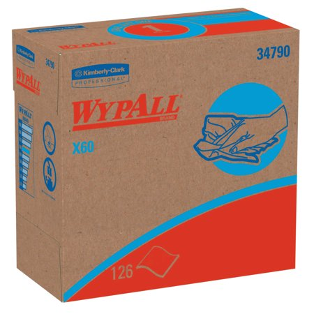 Kimberly-Clark Professional WypAll X60 Wipers, Pop-Up Box, White, 126 per box
