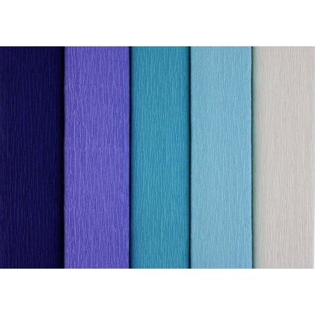 Just Artifacts Premium Crepe Paper Rolls - 8ft Length/20in Width (5pcs, Color: Shades of Blue)