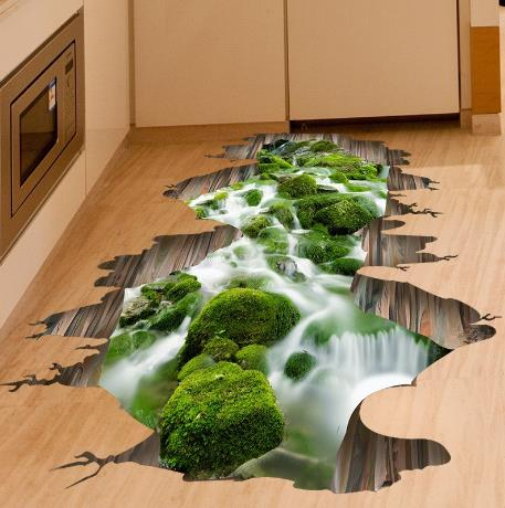 Outgeek 3D Streaming Wall Stickers Floor Stickers Toilet Bathroom Kitchen Decorative Stickers Decal for Home Decor