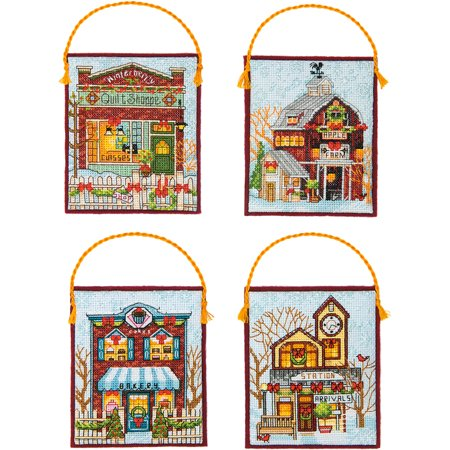 Winter Village Ornaments Counted Cross Stitch Kit-16 Count Set Of 4 - image 1 de 2