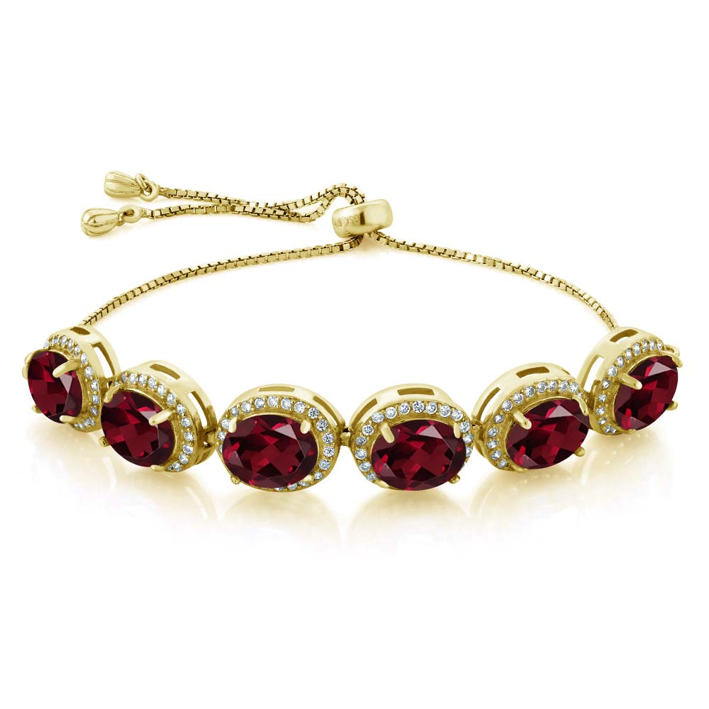 13.58 Ct Oval Red Rhodolite Garnet 18K Yellow Gold Plated Silver Bracelet by