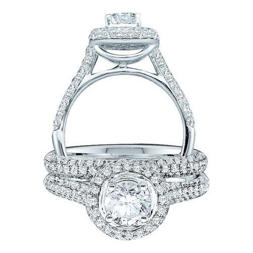 1.23Ctw Diamond 0.40Ct Center Round Bridal Set Womens Fixed Ring Size - 7