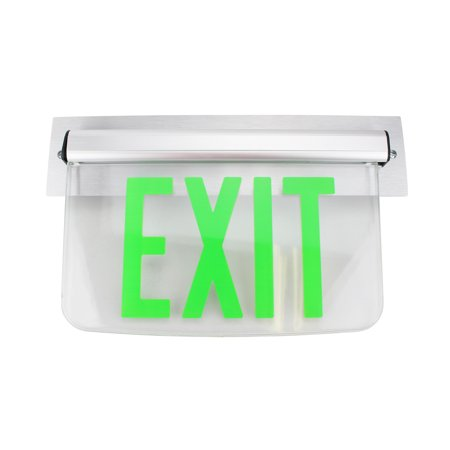 - Dual Lite Hubbell Lewsgxna Le Series Edge-Lit Led Exit Sign, Wall Mount, No Arrow, Green