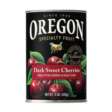 India Sweet Fruit - Oregon Fruit Whole Pitted Dark Sweet Cherries In Heavy Syrup - Pack of 8 - 15 Oz.
