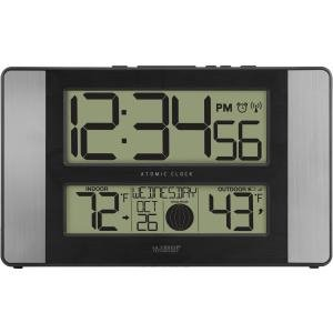La Crosse Technology 513 1417Al Atomic Digital Clock With Temperature And Moon Phase  Aluminum Finish