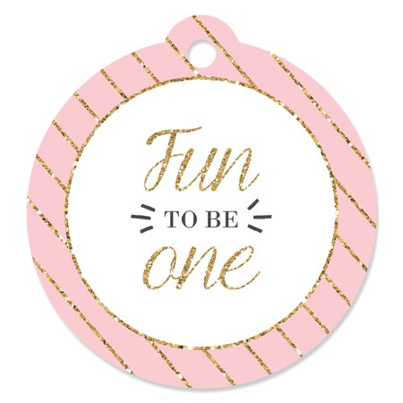 Fun to be One - 1st Birthday Girl - First Birthday Party Favor Tags (Set of 20) (Girls Birthday Party Favors)
