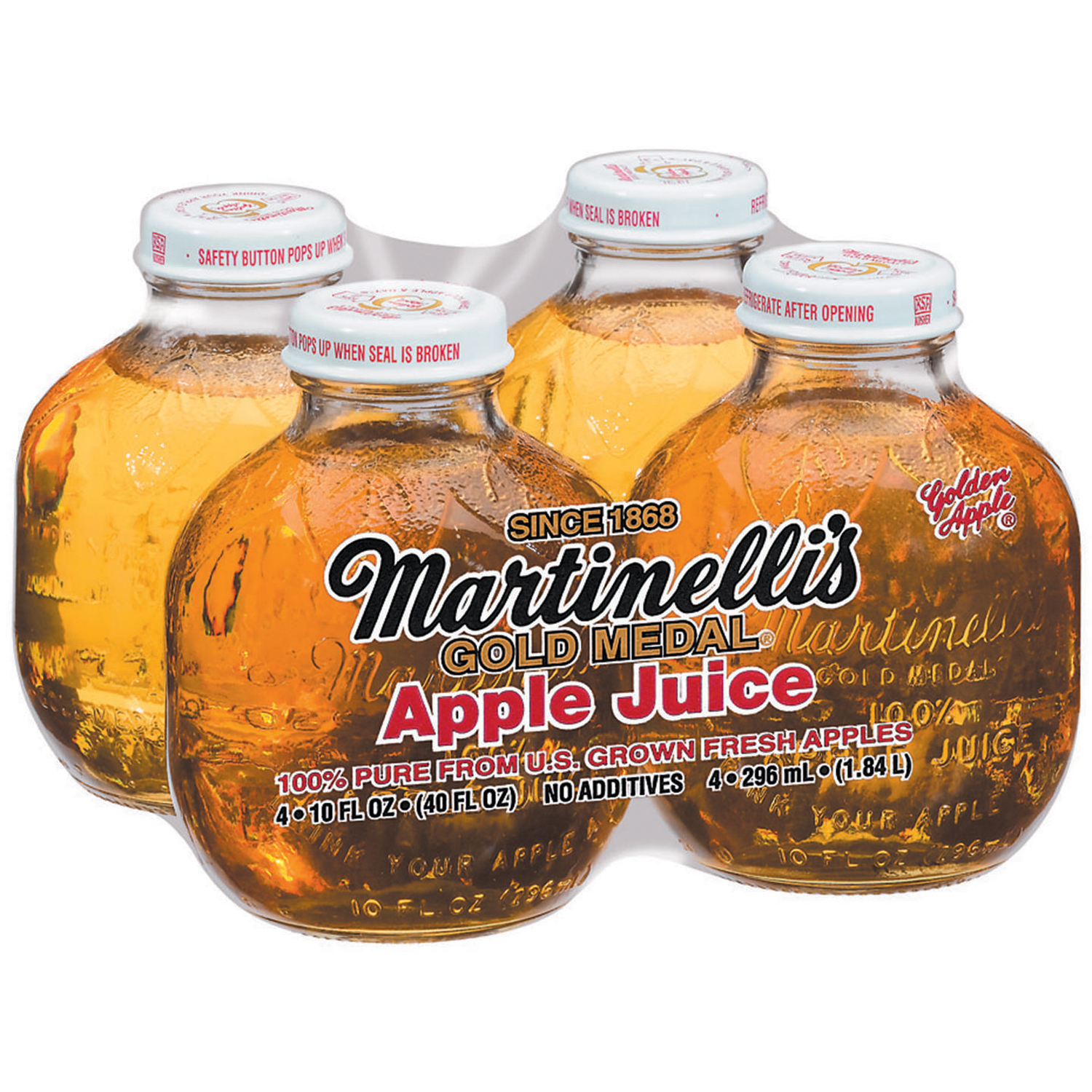 Martinelli's Gold Medal�� 10 Oz Apple Juice 100% Pure 4 Ct Glass Bottles
