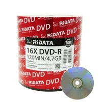 100 Pack Ridata DVD-R 16X 4.7GB 120 Min Silver Logo Top Blank Data Video Media Recordable Disc