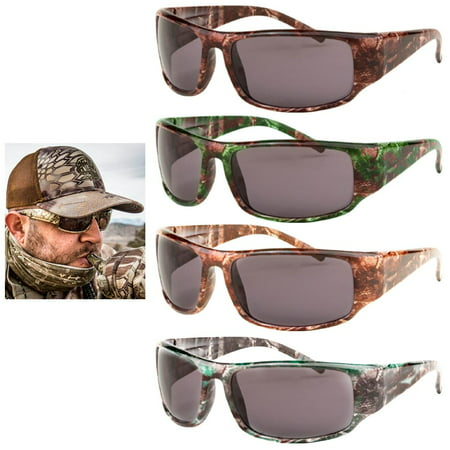 2Pc Mens Sunglasses Military Army Camouflage Camo Wrap Sports Hunting Shade - Army Sunglasses