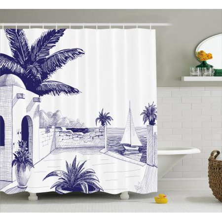 Vintage Boat Shower Curtain Beach House By The Sea Sunny Summer Mediterranean Climate Artwork Print