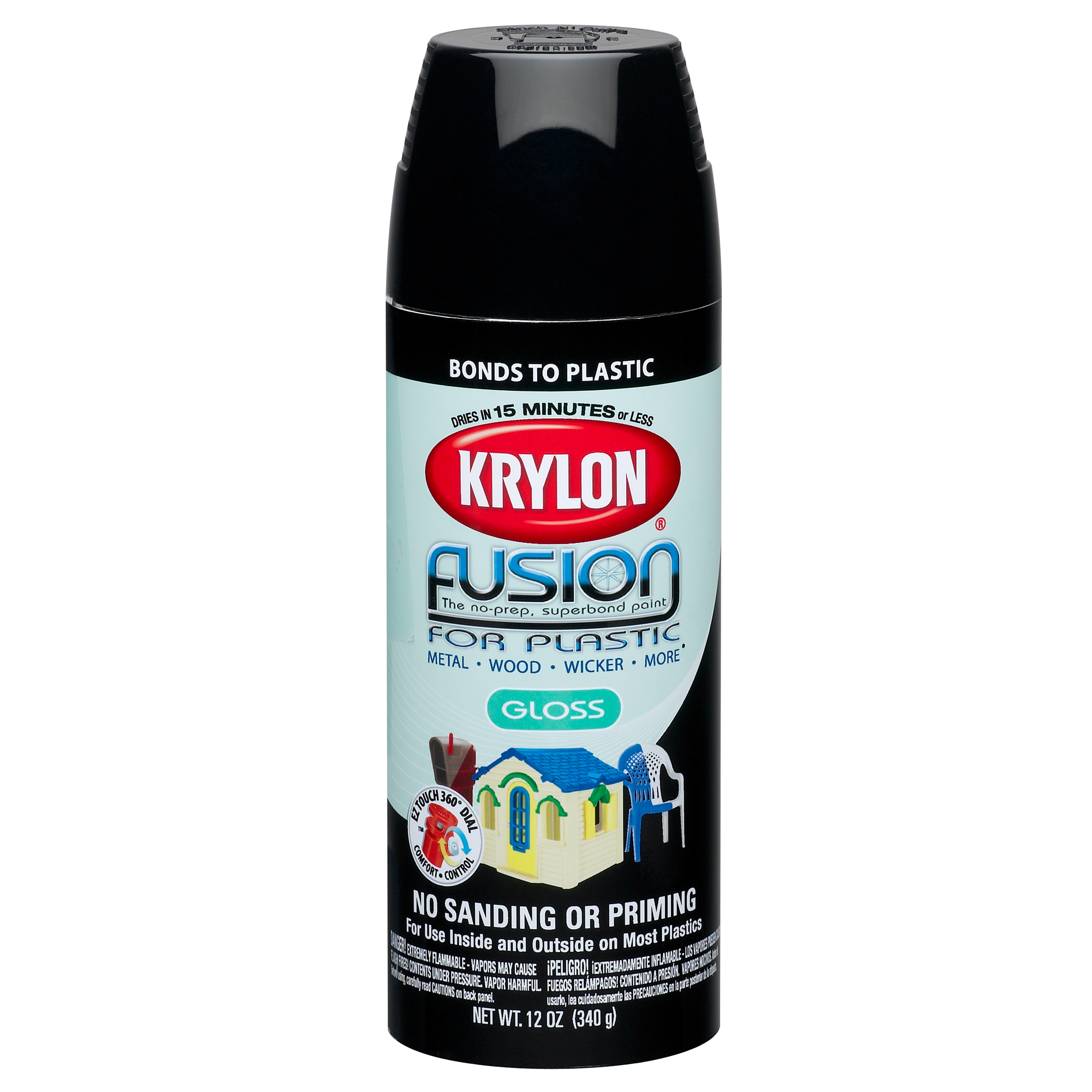 Krylon Fusion Spray Paint, Gloss Black