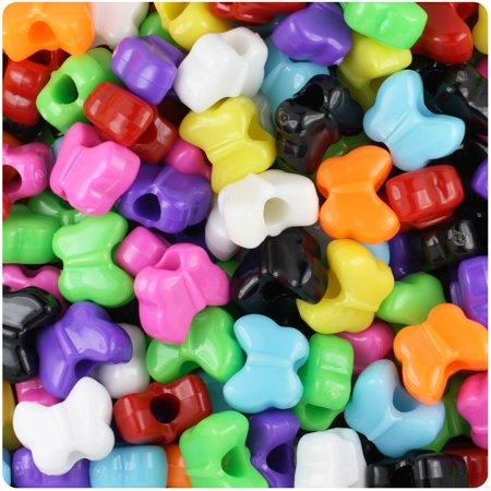 BeadTin Opaque Multi 13mm Butterfly Pony Beads