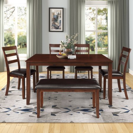 Harper&Bright Designs 6-piece Dining Room Table Set with 4 Ladder Chairs and Bench, Brown ()