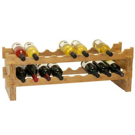 Commercial Unfinished Wine Racks (Oceanstar 18-Bottle Stackable Bamboo Wine Rack)