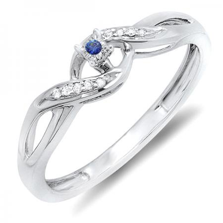- Sterling Silver Round Blue Sapphire & White Diamond Crossover Swirl Bridal Promise Engagement Ring
