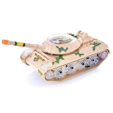 Toysery Military Army Tank Fighter Toy, with LED Flashing Lights and Sound, Bump and Go Action for Kids. (Top Toys For Kids)