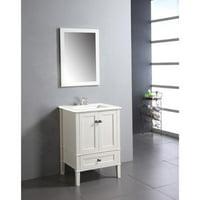 WyndenHall  Windham 24 inch Contemporary Bath Vanity in Soft White with White Engineered Quartz Marble Top Soft White