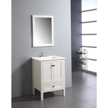 Wyndenhall windham soft white 24 inch bath vanity with 2 for Bathroom vanity with bottom drawer