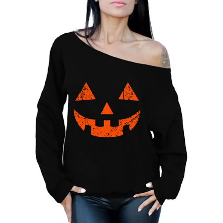 Awkward Styles Jack-O'-Lantern Off Shoulder Sweatshirt Jack-O Lantern Pumpkin Oversized Sweater for Women Halloween Baggy Sweatshirt Halloween Holiday Gifts for Her Cute Halloween Outfit for Women for $<!---->