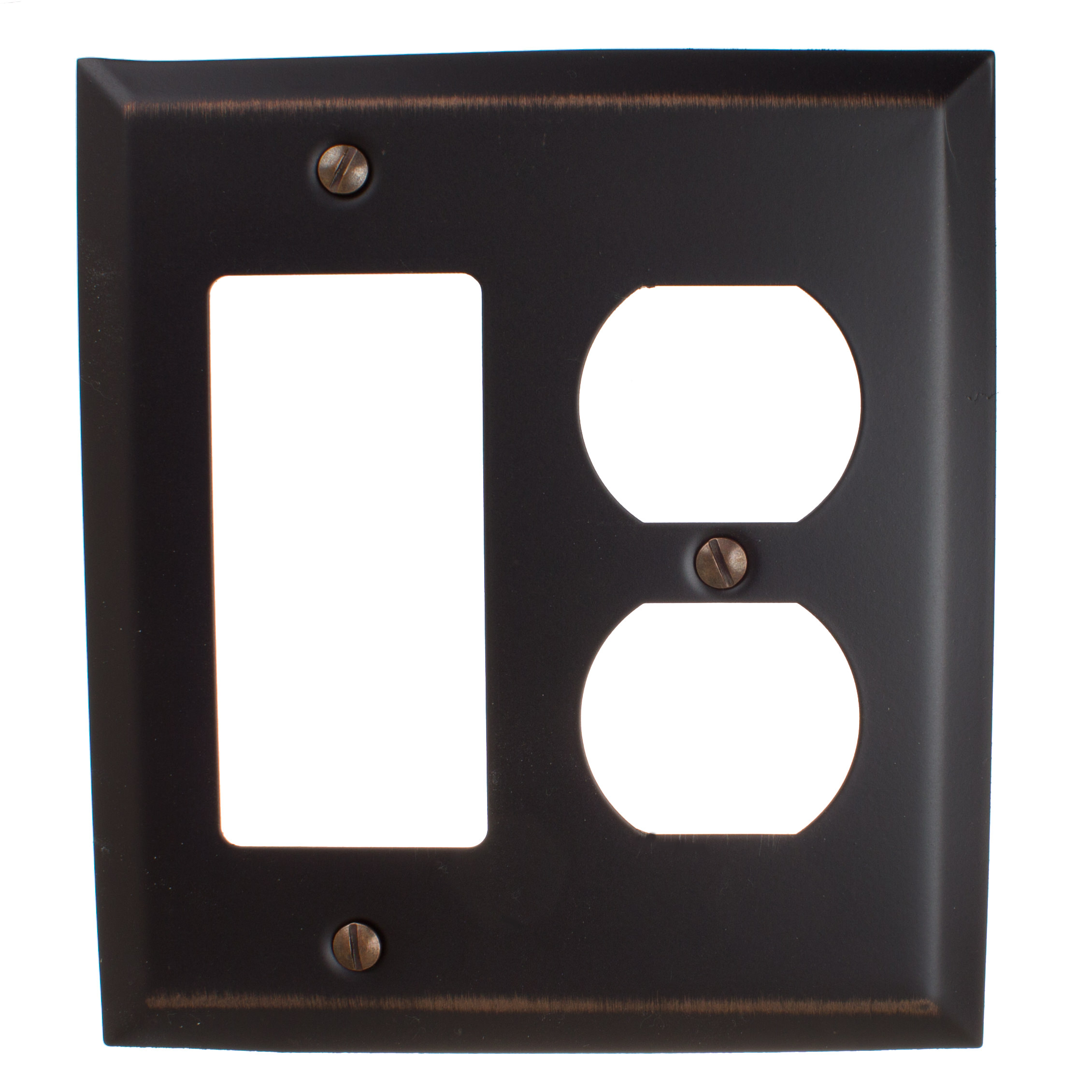 GlideRite Hardware Rocker and Duplex Outlet 2-Gang Beveled Edge Combination Wall Plate Cover, Brushed Nickel