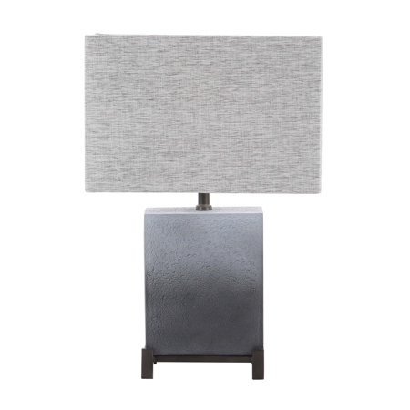 Decmode 22 Inch Modern Polystone And Metal Square Gradient Gray Table Lamp, Light Gray