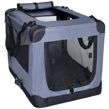 Dog Soft Crate 26 Inch Kennel for Pet Indoor Home & Outdoor Use  Soft Sided 3 Door Folding Travel Carrier with Straps  Arf