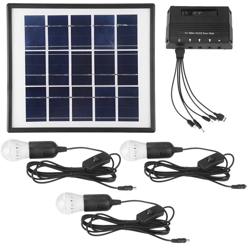 Waterproof 4W Solar Panel LED Light USB Charger Outdoor Home Garden System Kit