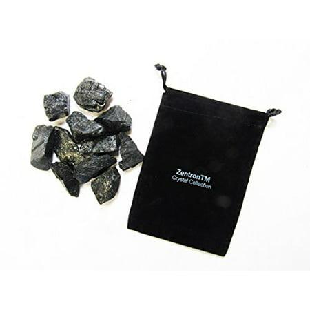 Zentron Crystal Collection: 1/2 Pound Rough Natural Black Tourmaline Stones with Velvet Bag