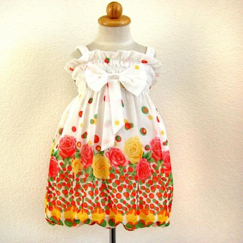 Fuchsia Yellow Floral Casual Bubble Dress Girls  4-6