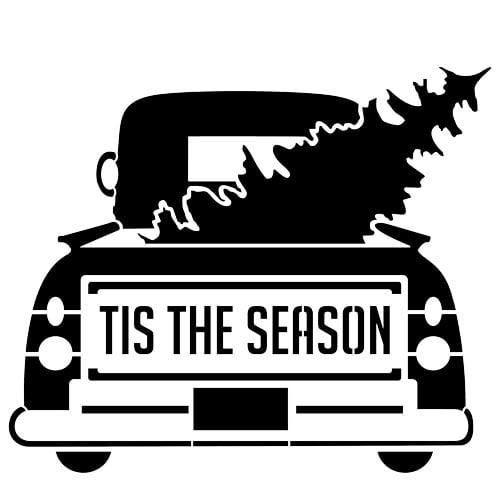 Designer Stencils Tis the Season Vintage Truck with Tree Stencil FS055