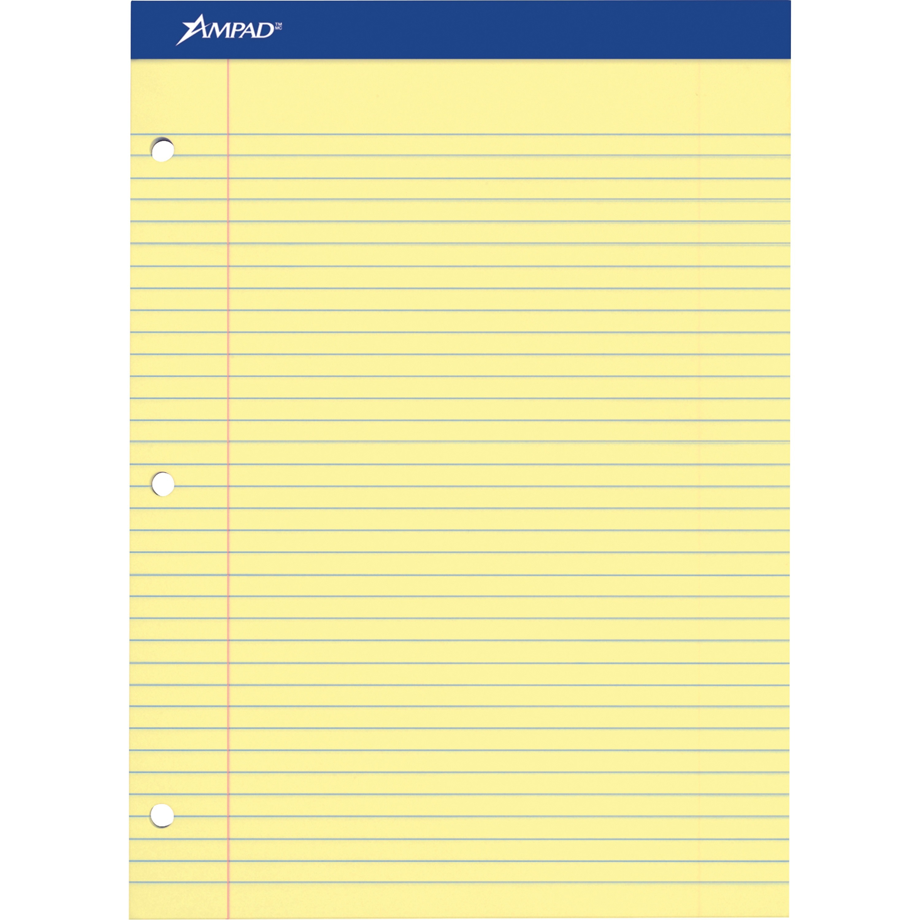 Ampad, TOP20243, Perforated 3 Hole Punched Ruled Double Sheet Pads - Letter, 100 / Pad