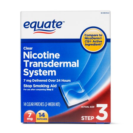 Equate Nicotine Transdermal System Step 3 Clear Patches, 7 mg, 14 Ct