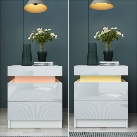 ANGGREK Nightstand,Coloful LED Light Bedside Table Large Capacity Storage Cabinet with 2 Drawers for Bedroom,Storage Cabinet