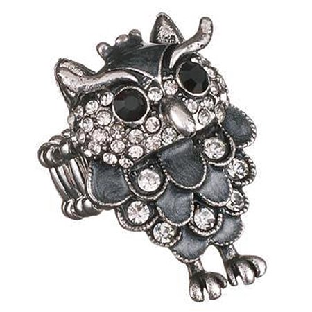 Black and Silver Colored Flexible Band Owl Ring - By