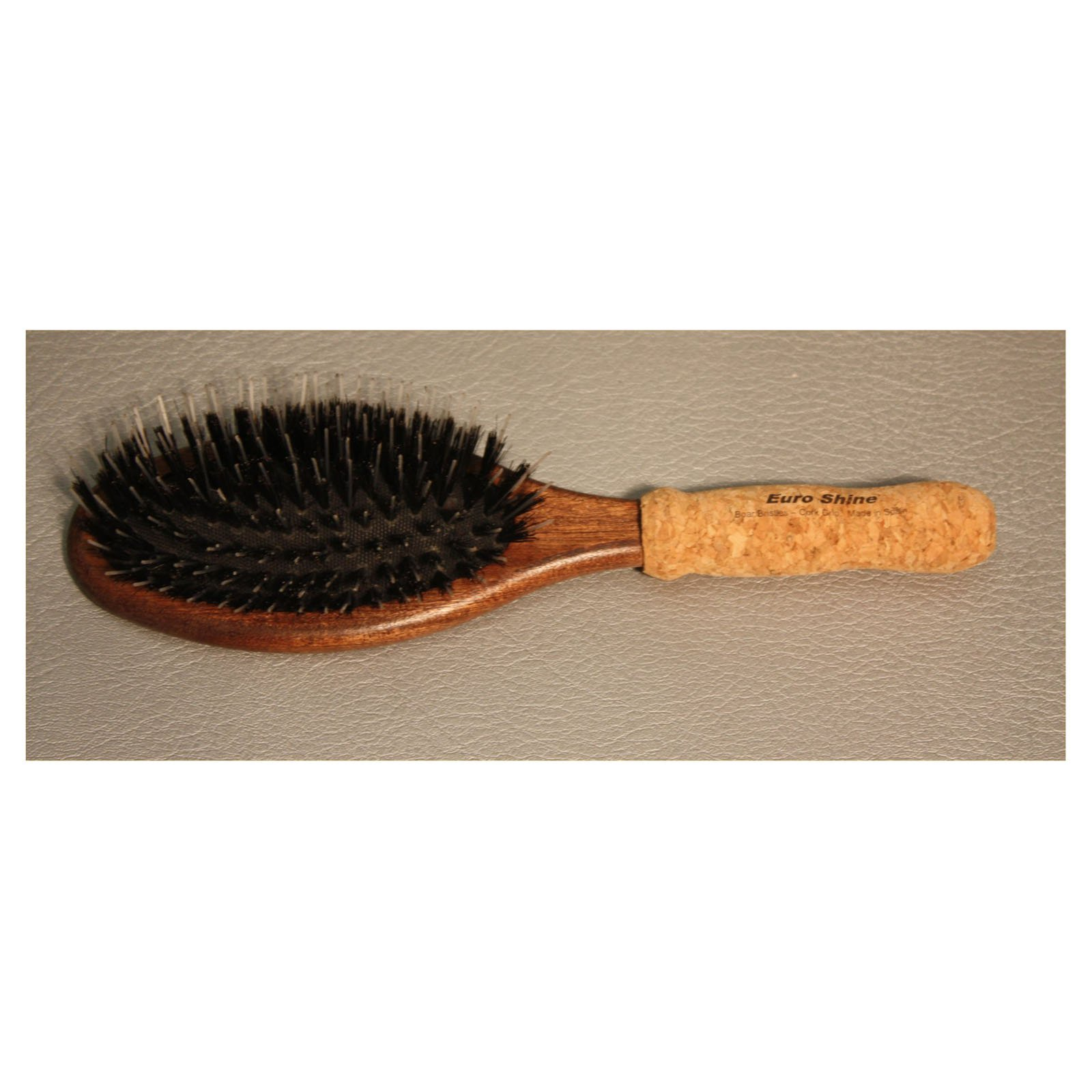 EuroShine Large Oval Cork Grip Boar Bristle Brush