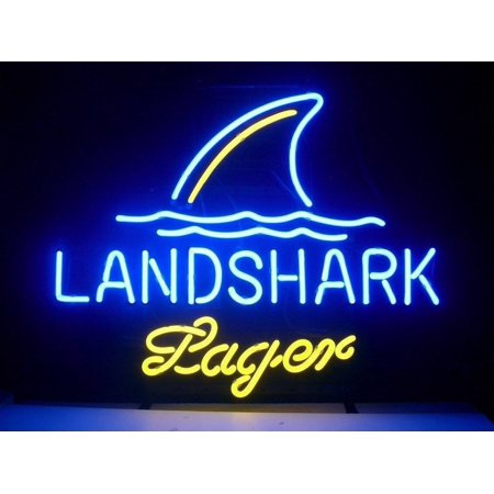 Desung Brand New Landshark Lager Neon Sign Handcrafted Real Glass Beer Bar Pub Man Cave Sports Neon Light 20 X 16  Wm16