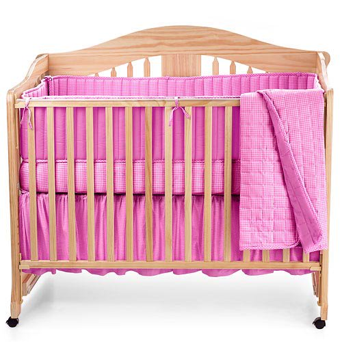 Seed Sprout Gingham Crib Bedding 3, Pink Gingham Baby Bedding